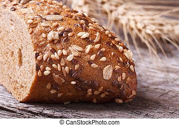 closeup, nozes, madeira, sementes, tabela, pão