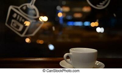closeup, nuit, café, tasse, théière