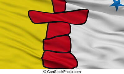 Closeup Nunavut city flag, Canada - Nunavut closeup flag,...