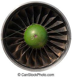 closeup, o, jeden, ponurý, proudový motor