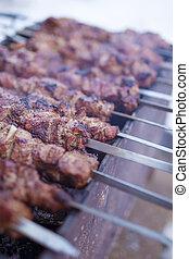 closeup, o, pečený, aromatický, kuře, maso, dát, dále, špejle, venku