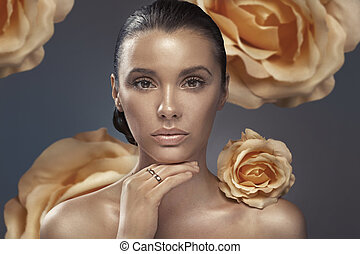closeup, obraz, od, brunetka, dama