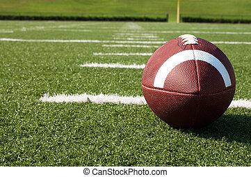 closeup, od, amerykańska piłka nożna, na, pole