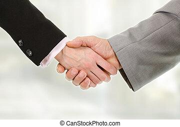 closeup, od, handlowy zaludniają, potrząsające ręki, z, nawzajem