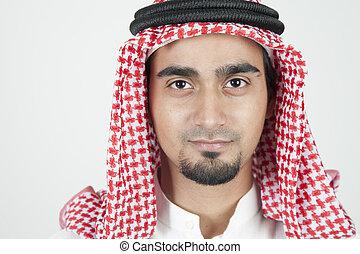 closeup, od, niejaki, młody, arab