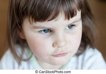 Closeup of a baby girl looking away