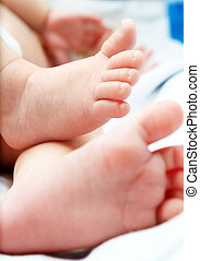 closeup of a baby`s feet