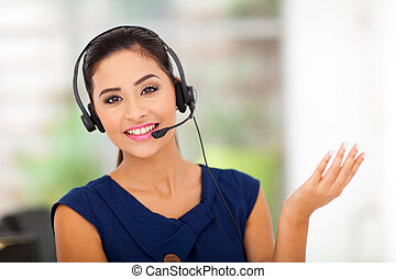 customer service woman smiling - Closeup of a beautiful ...