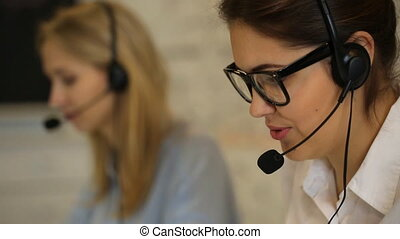 Closeup of a beautiful business customer service woman