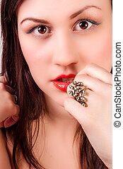 Closeup of a beautiful girl