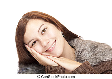 Closeup of a beautiful happy woman