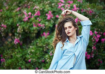 Closeup of a beautiful woman outdoor