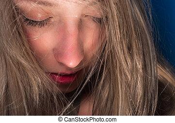 Closeup of a beautiful young woman