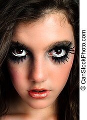 Closeup of a beutiful young girl with great makeup
