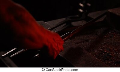 blacksmith tools in a hot oven close-up
