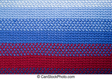 closeup of a blue and red woolen pattern