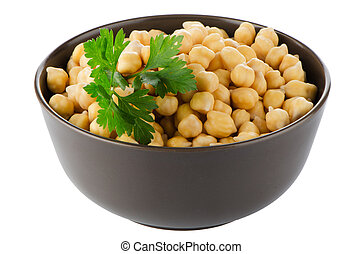 Closeup of a bowl with boiled chickpeas on a white...