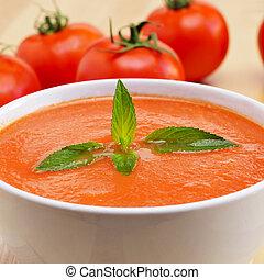 spanish gazpacho - closeup of a bowl with spanish gazpacho ...