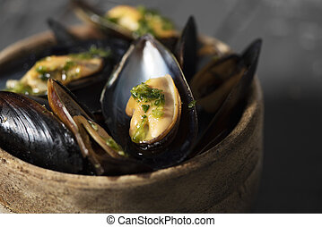 moules mariniere, a french recipe of mussels