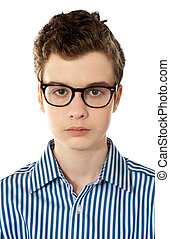 Closeup of a boy wearing glasses