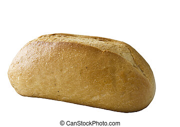closeup of a bread roll isolated on white