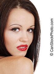 brunette woman with red lipstick