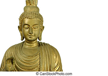 Closeup of a buddha statue isolated on white