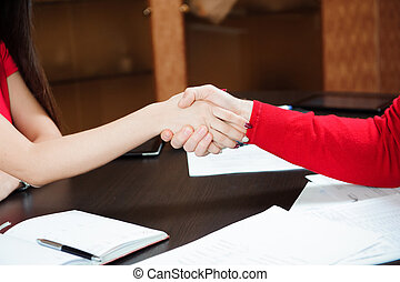 Closeup of a business handshake, people concept.