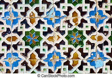 ceramic - closeup of a ceramic tile in Pilate's palace,...