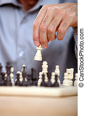 Closeup of a chess game