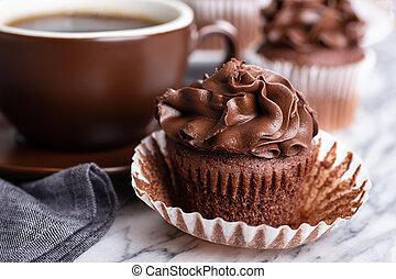 Closeup of a Chocolate Cupcake