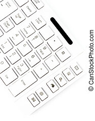 Closeup of a computer keyboard. White keyboard isolated on whit