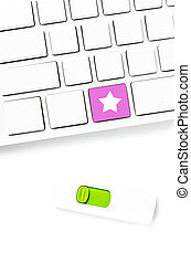 Closeup of a computer keyboard with blank keys and star key , wh