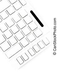 Closeup of a computer keyboard with blank keys. White keyboard i