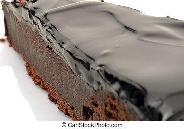 Closeup of a dark chocolate cake