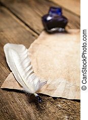 Closeup of a feather lying on vintage letter