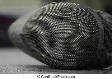 Closeup of a fencing mask - Closeup of a wire mesh fencing...