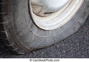 Closeup of a flat tire