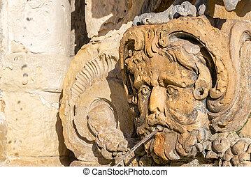 Closeup of a Fountain in Malta