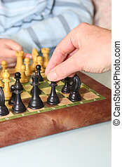 Closeup of a game of chess