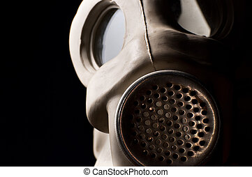 Closeup of a gasmask with copyspace