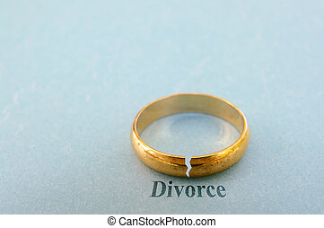 closeup of a gold wedding ring with a crack in it ( divorce concept)