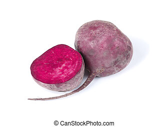 Closeup of a half of beet, purple beetroot, vegetables for refreshing healthy dishes and drnks isolated on a white background.