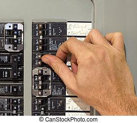 closeup of a hand using an electricity breaker