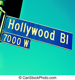 Hollywood Boulevard sign - Closeup of a Hollywood Boulevard...