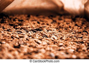 Closeup of a homemade pile of muesli