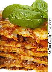 closeup of a lasagna