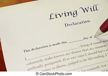 Closeup of a living will document and pen