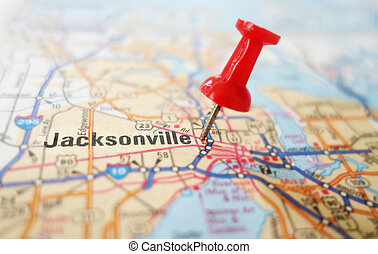Closeup of a map of Jacksonville Florida with red pin