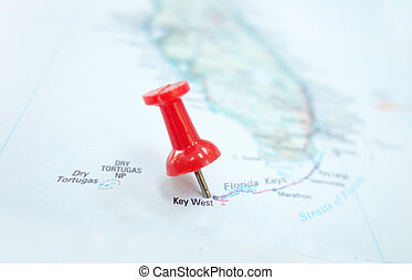 Key West - Closeup of a map of Key West Florida and red pin